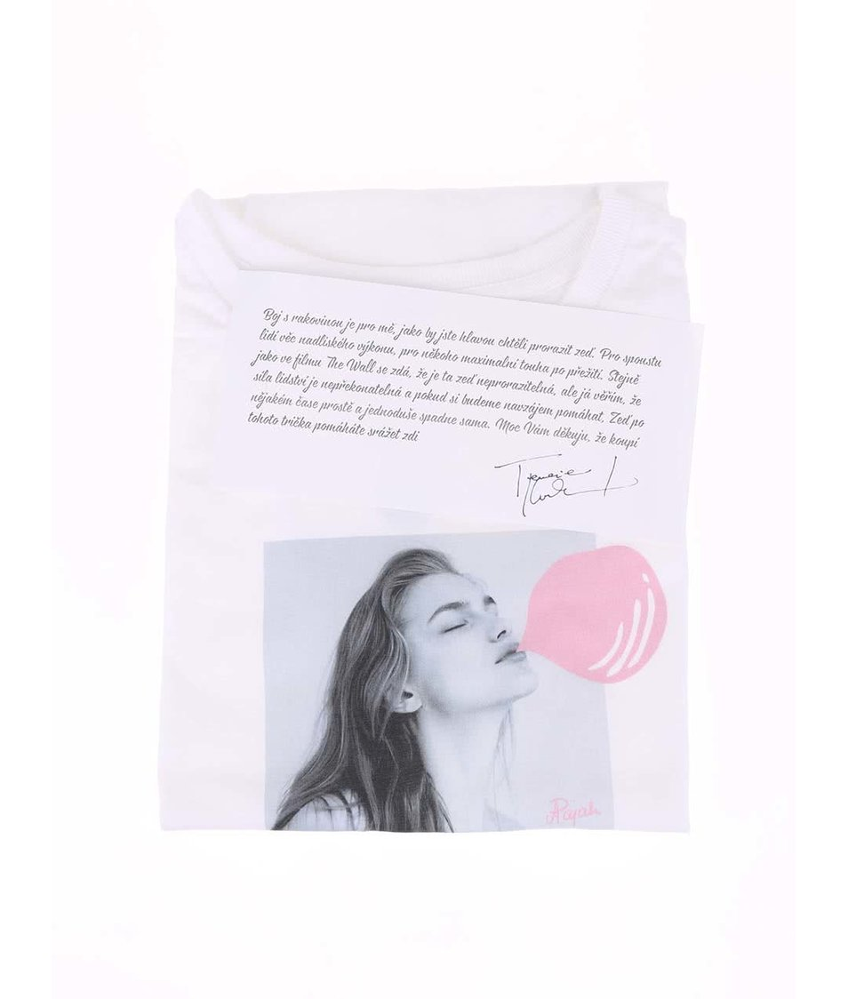 """""""Dobré"""" bílé dámské tričko pro Pink Bubble Aneta Pajak"""