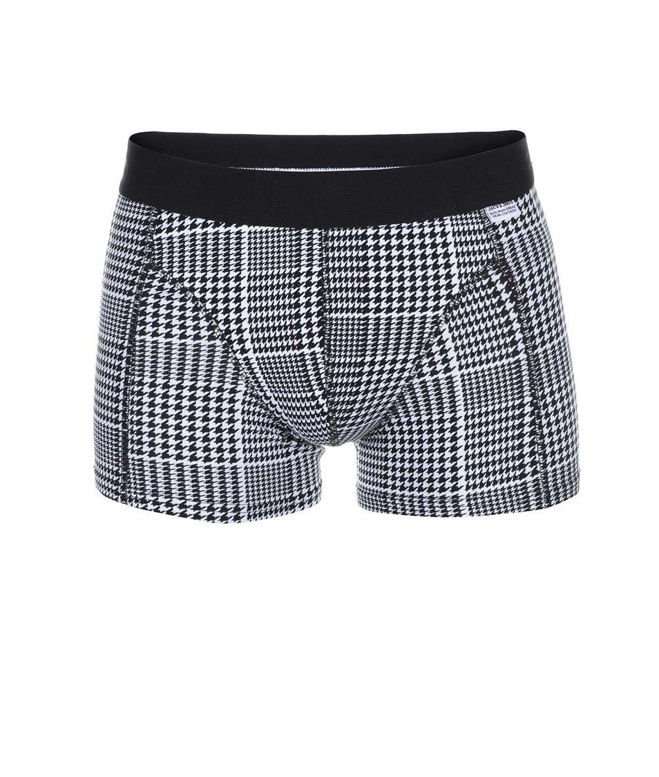 Černo-bílé boxerky s kohoutí stopou Jack & Jones Minimal