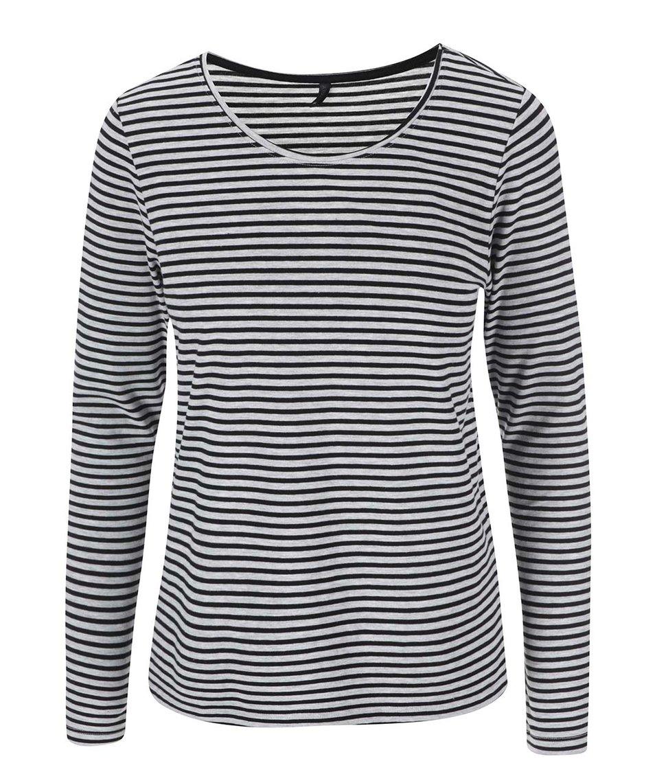Černo-šedé pruhované tričko s dlouhými rukávy ONLY Love