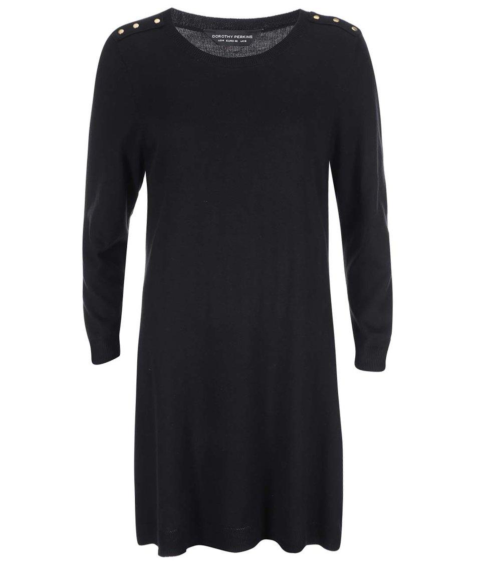 Černé svetrové šaty s knoflíky na ramenou Dorothy Perkins