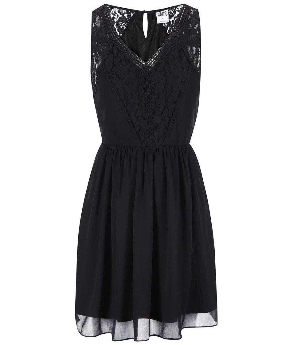 Černé šaty s krajkou Vero Moda Freja