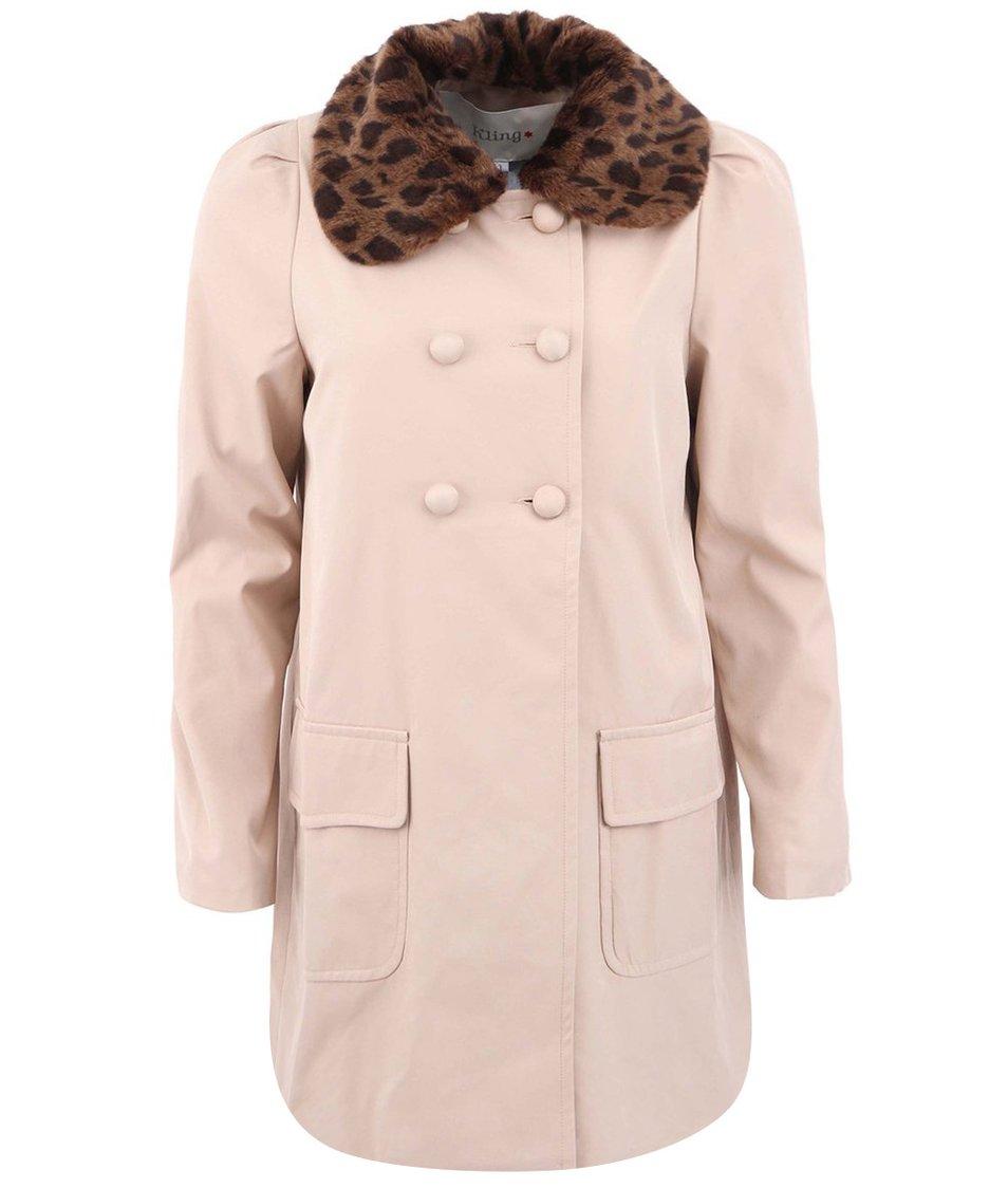 Béžový kabát s kožešinovým odepínacím límcem  Kling Frank