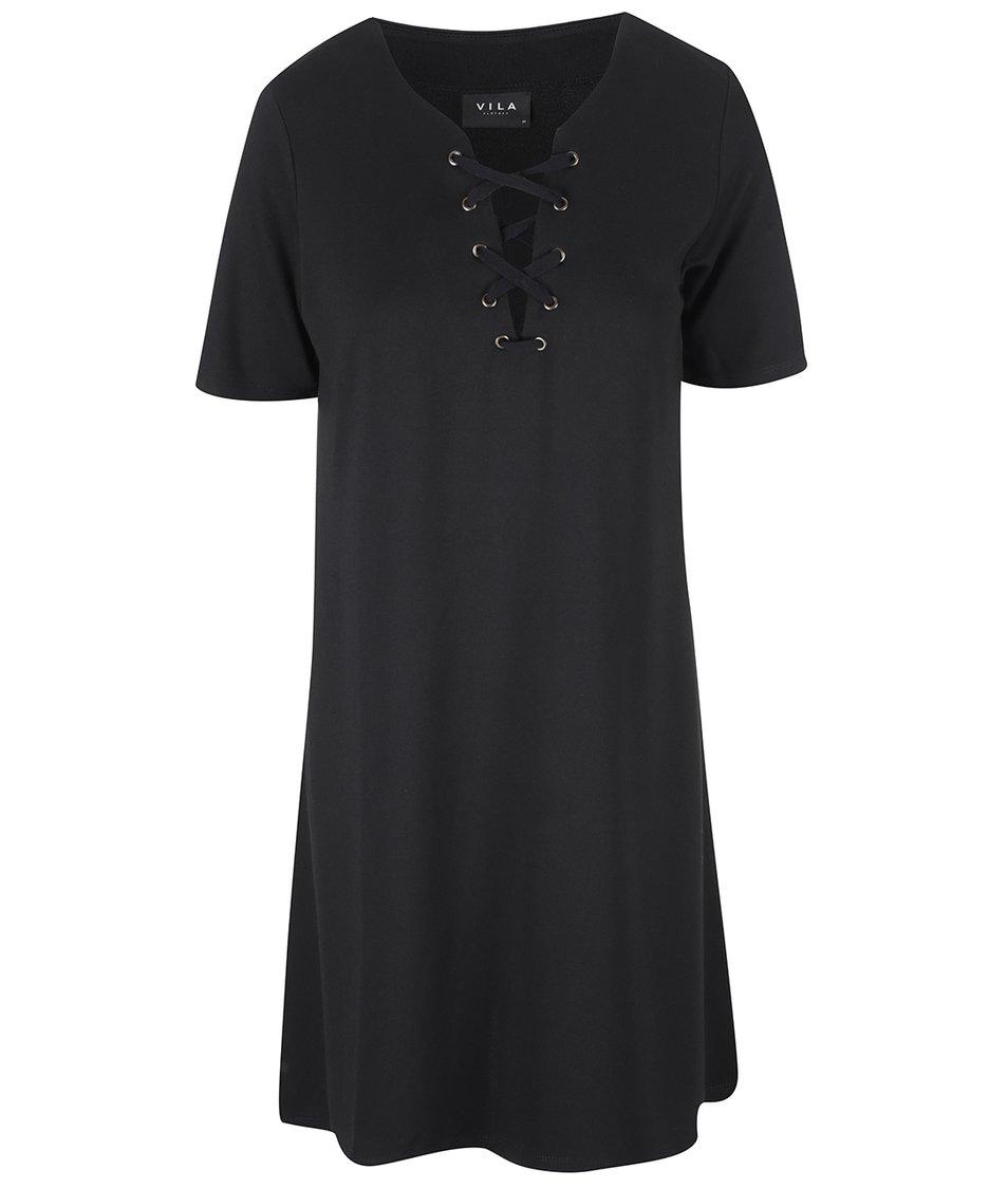 Černé šaty s ozdobným šněrováním VILA Force
