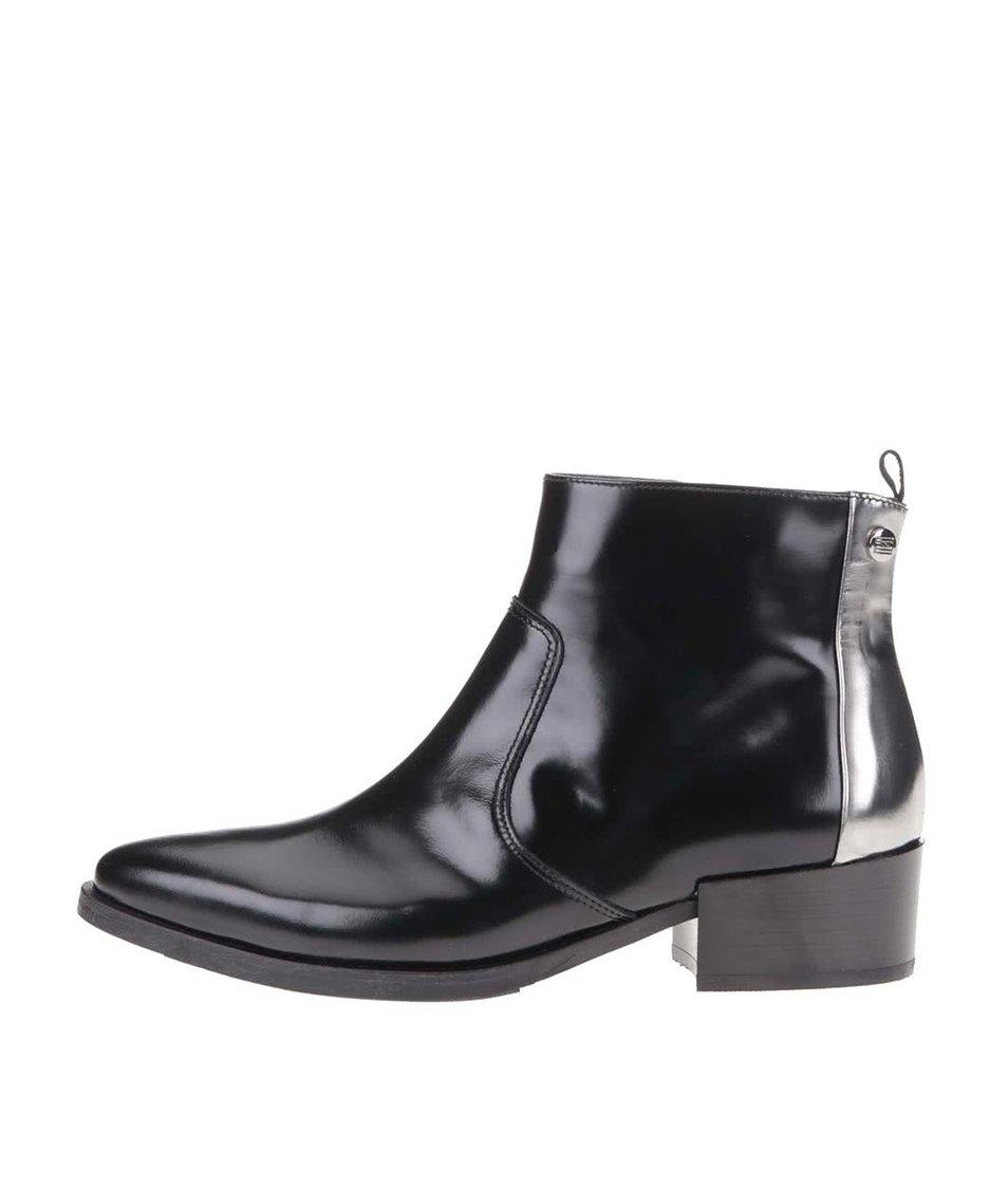 Černé dámské kožené kotníkové boty Tommy Hilfiger PIPPA