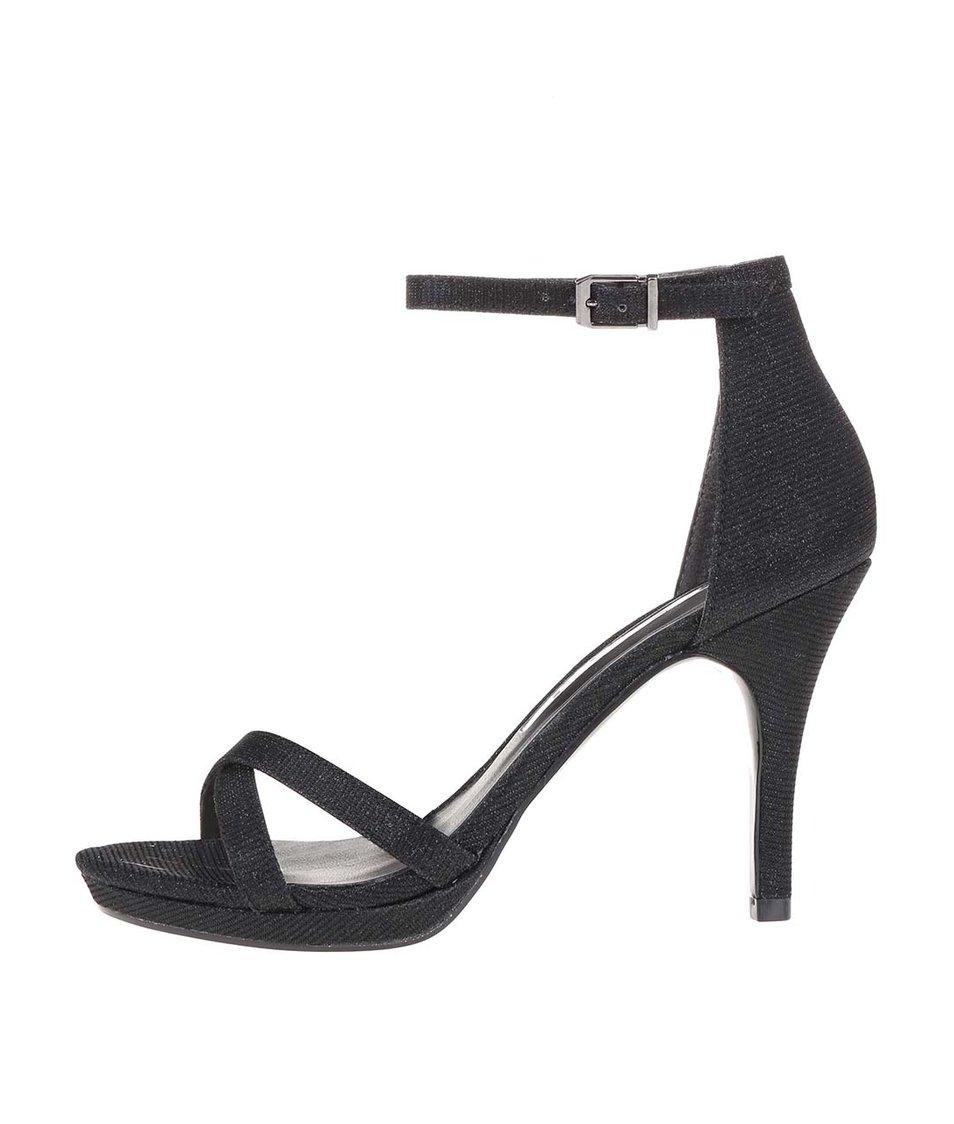 Černé třpytivé sandálky na vysokém podpatku Tamaris