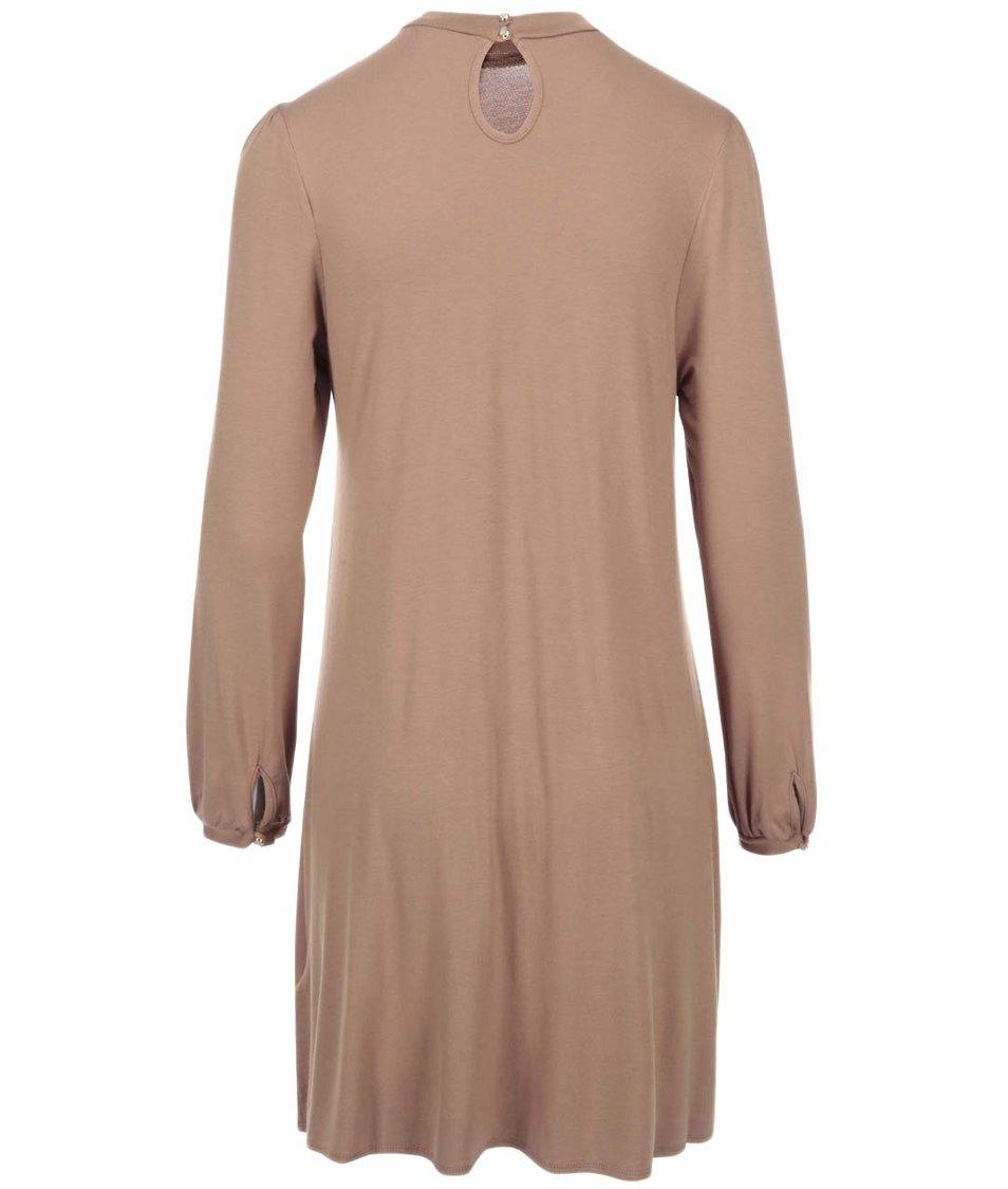 Béžové šaty s dlouhým rukávem Dorothy Perkins