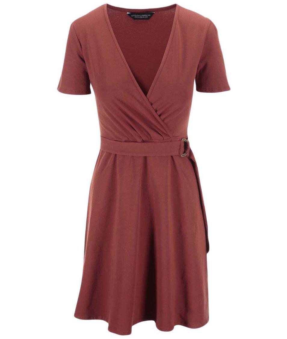 Cihlové šaty s páskem Dorothy Perkins
