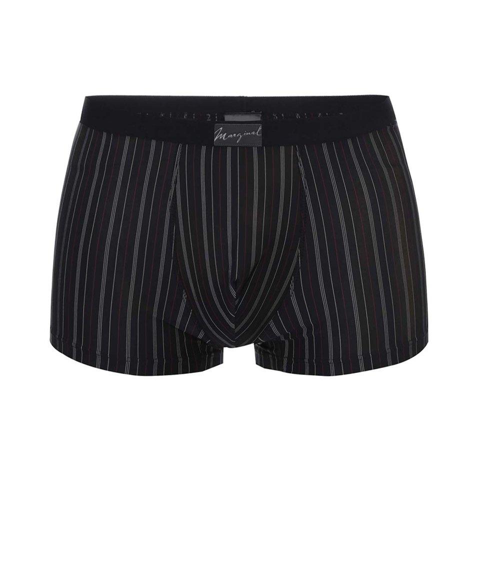 Černé boxerky s jemnými bílými a červenými pruhy Marginal