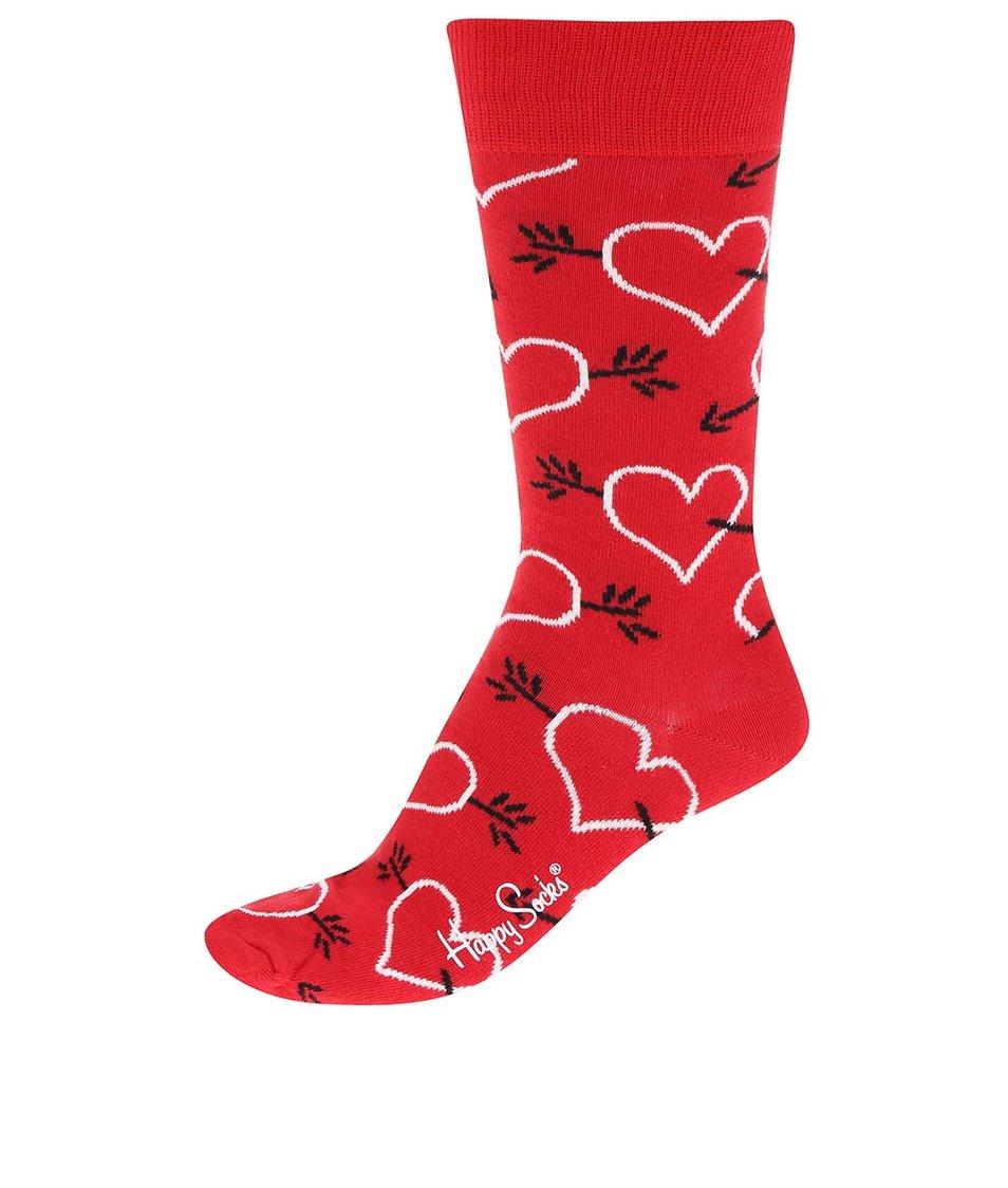 Červené unisex ponožky se vzorem Happy Socks Arrow & Heart