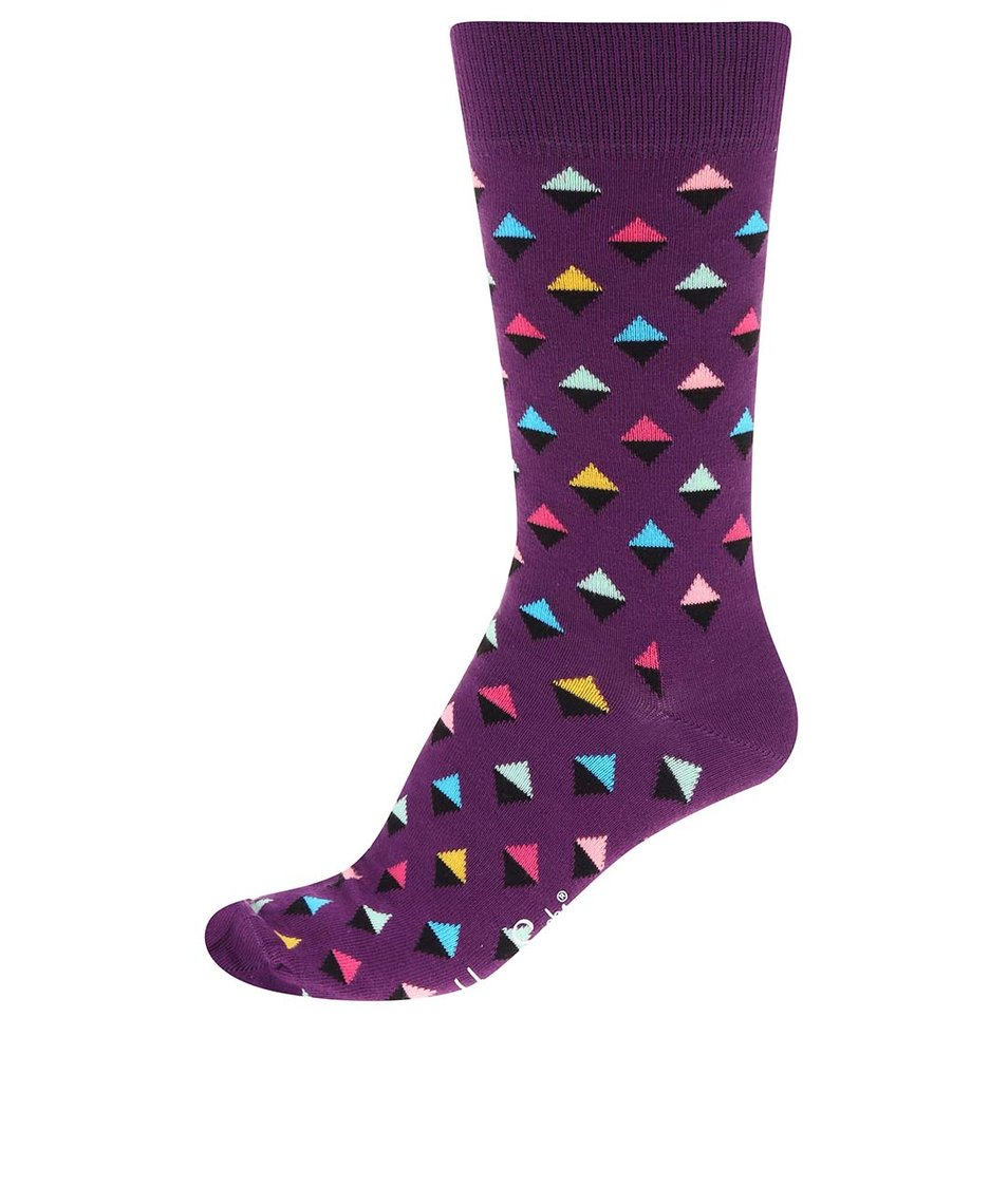 Fialové unisex ponožky s trojúhelníčky Happy Socks Mini Diamond