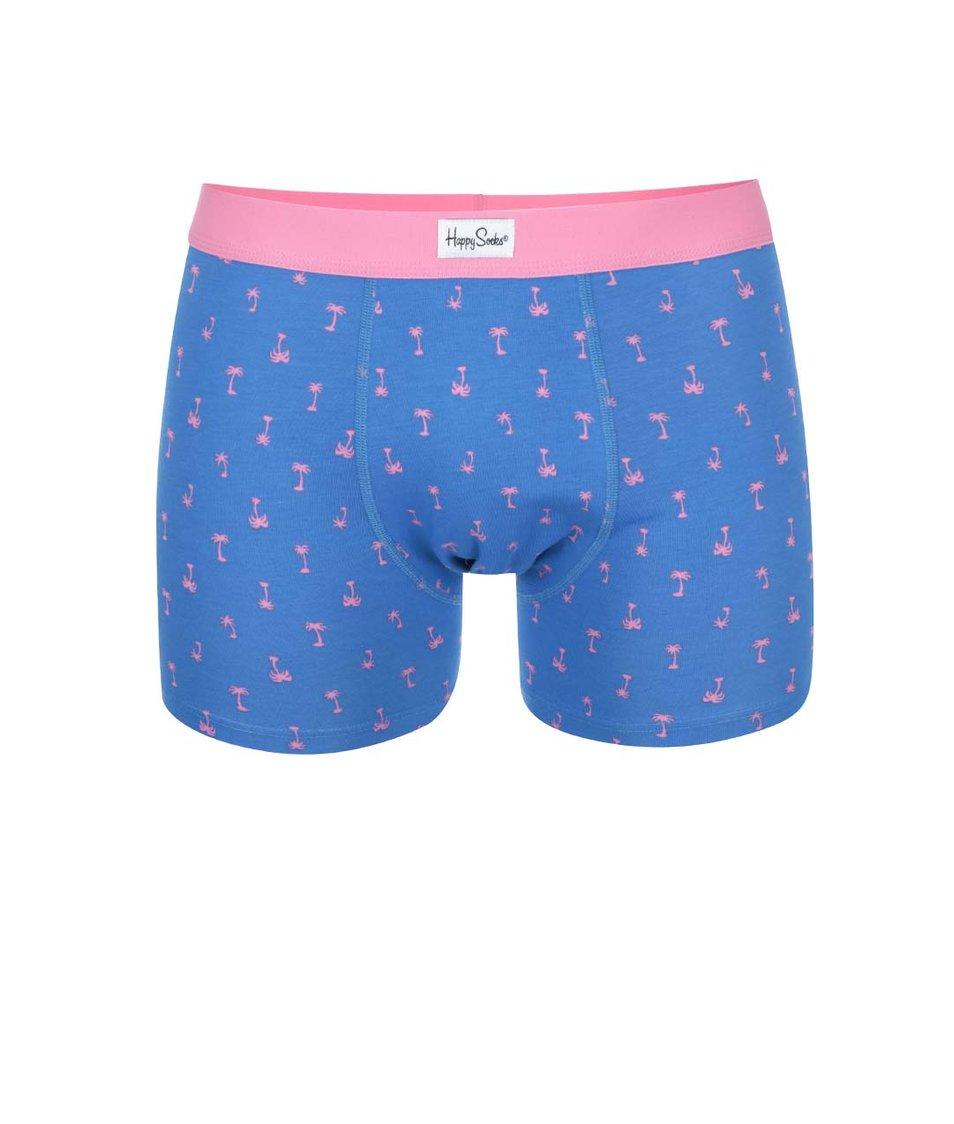 Růžovo-modré boxerky s palmami Happy Socks Palm Beach