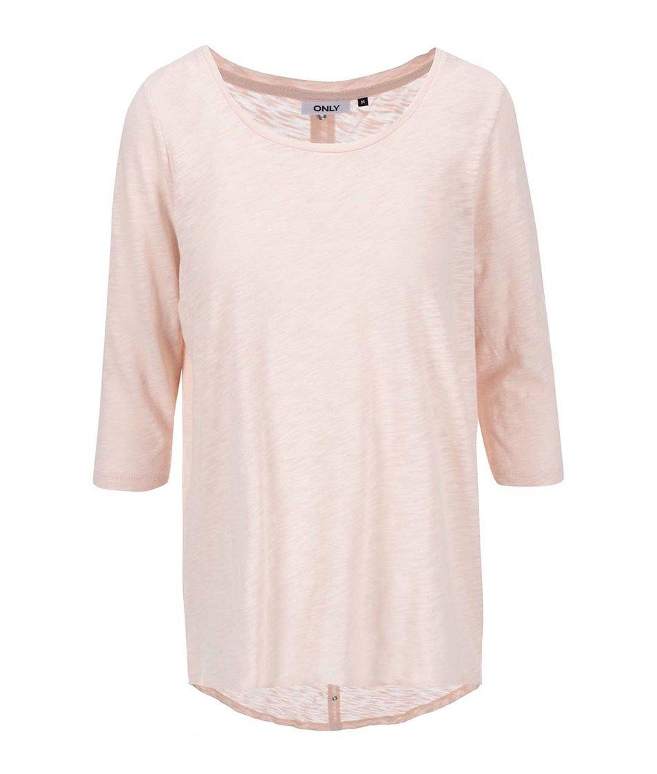Světle růžové tričko s 3/4 rukávy ONLY Casa