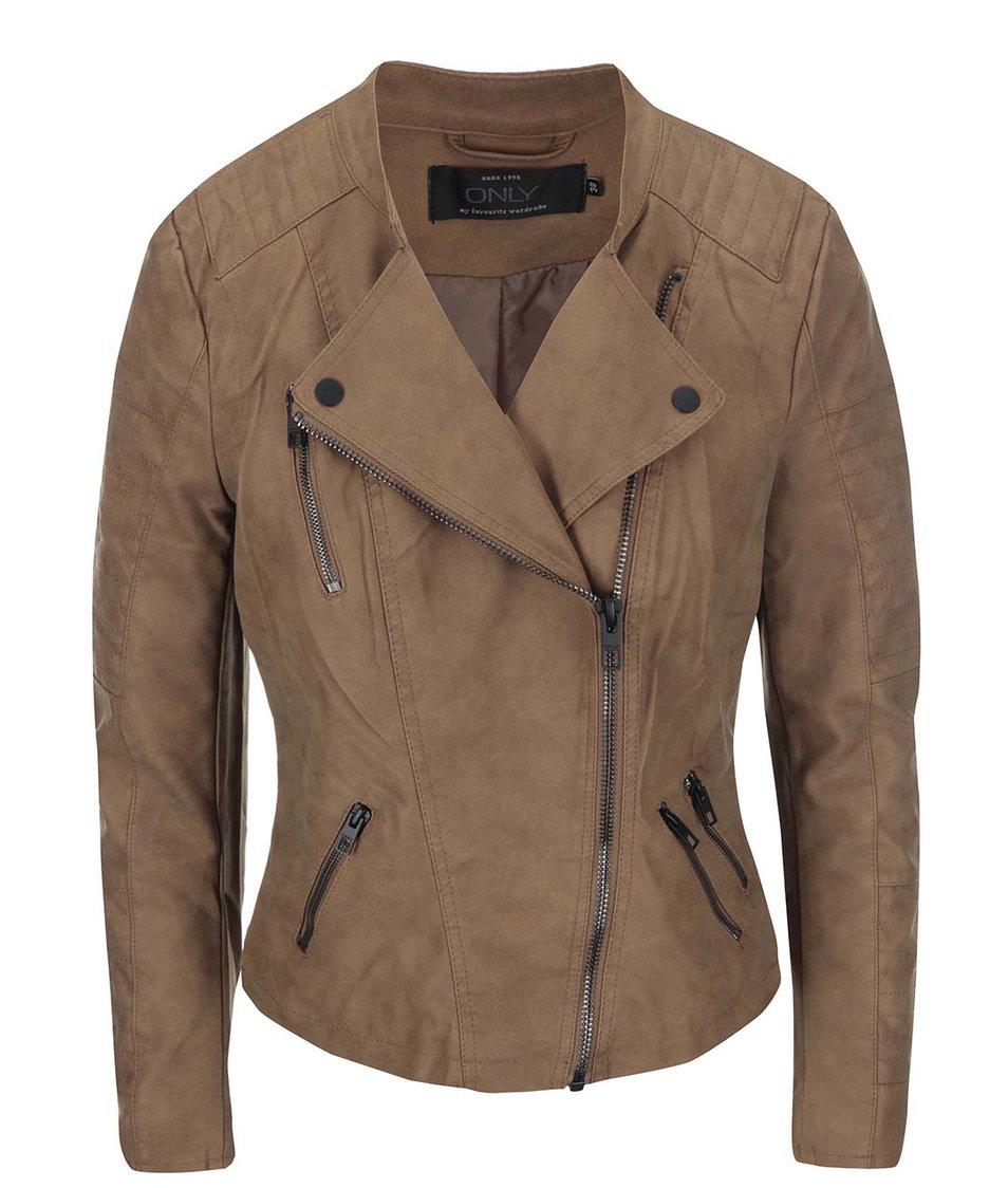 Hnědá kratší koženková bunda ONLY Biker