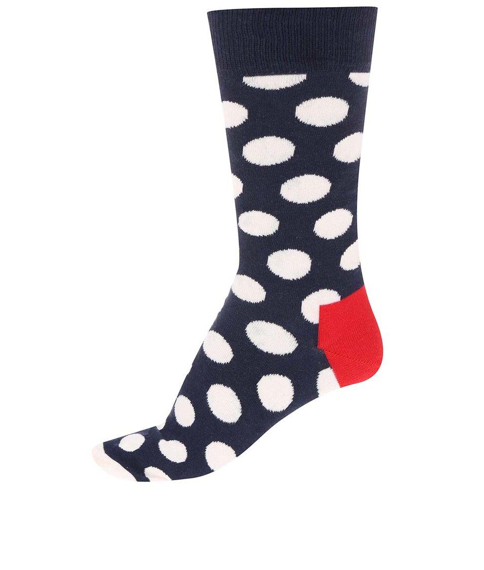 Tmavě modré unisex ponožky s bílými puntíky Happy Socks Big Dots