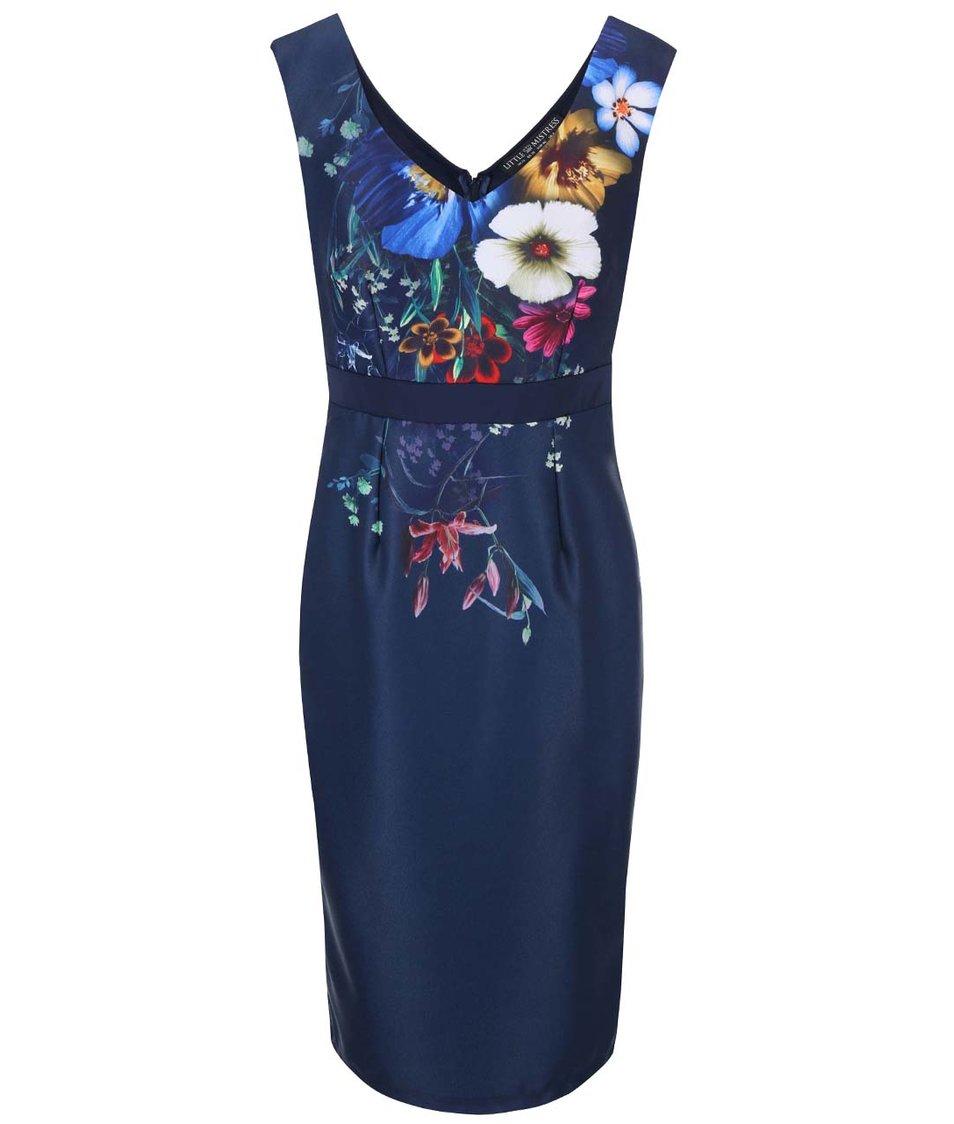 Tmavě modré květované šaty Little Mistress