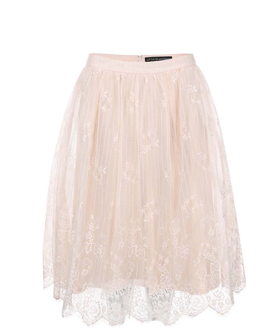 Krémová krajkovaná sukně Little Mistress