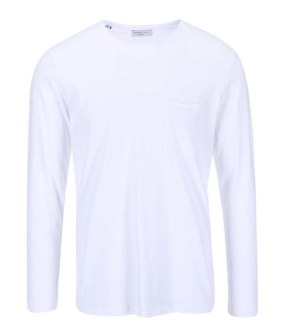 Bílé triko s dlouhým rukávem Selected Homme Pima Florence