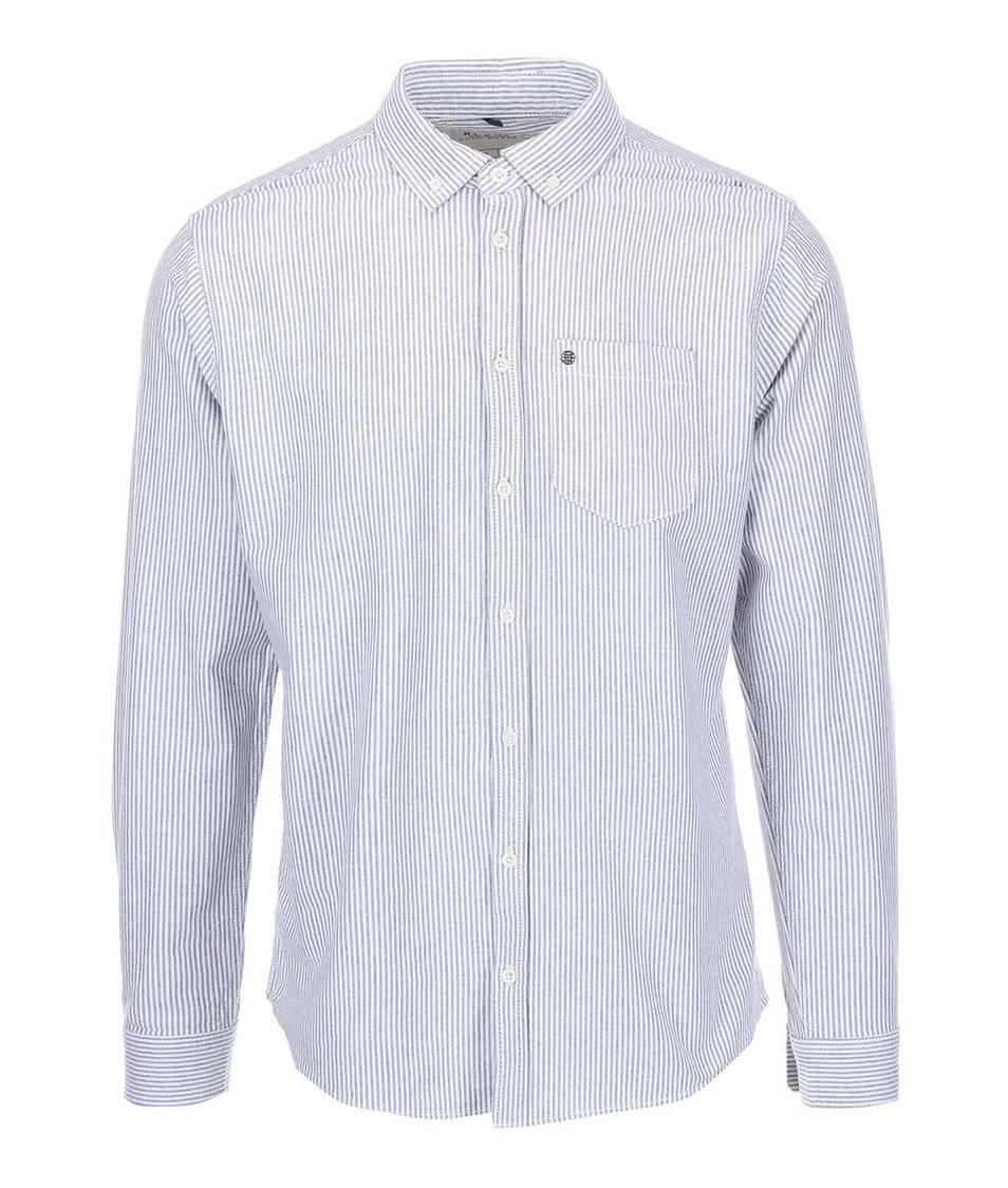 Bílo-šedá pruhovaná košile Blend Regular Fit