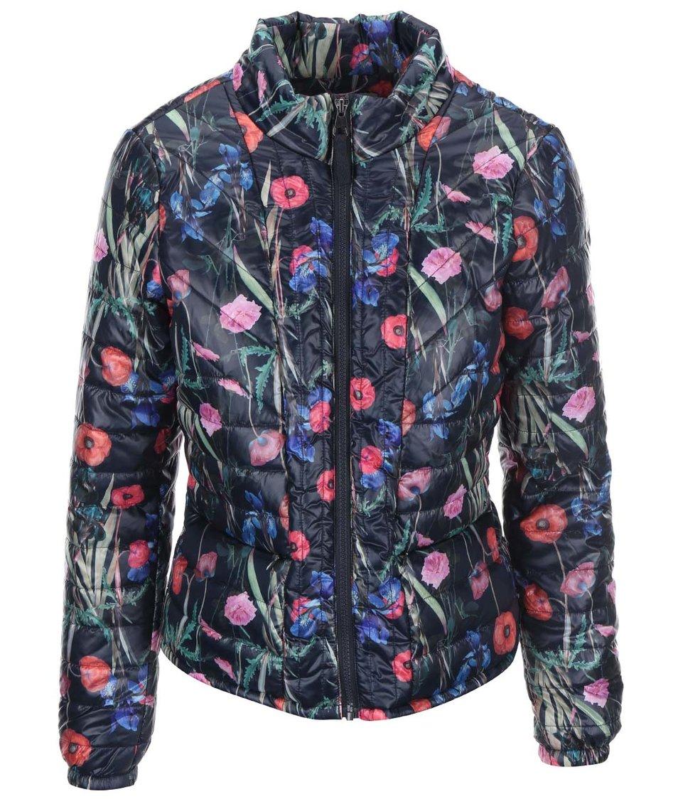 Modrá květovaná péřová bunda Vero Moda Fanna