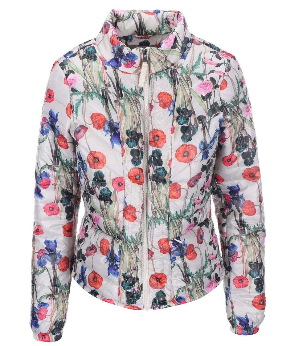 Šedá květovaná péřová bunda Vero Moda Fanna