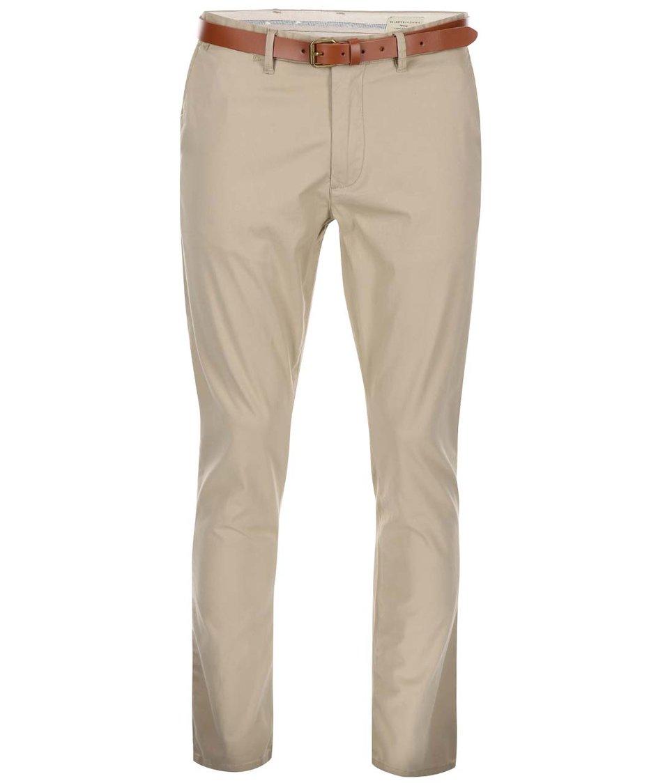 Béžové slim fit chino kalhoty s páskem Selected Homme Yard