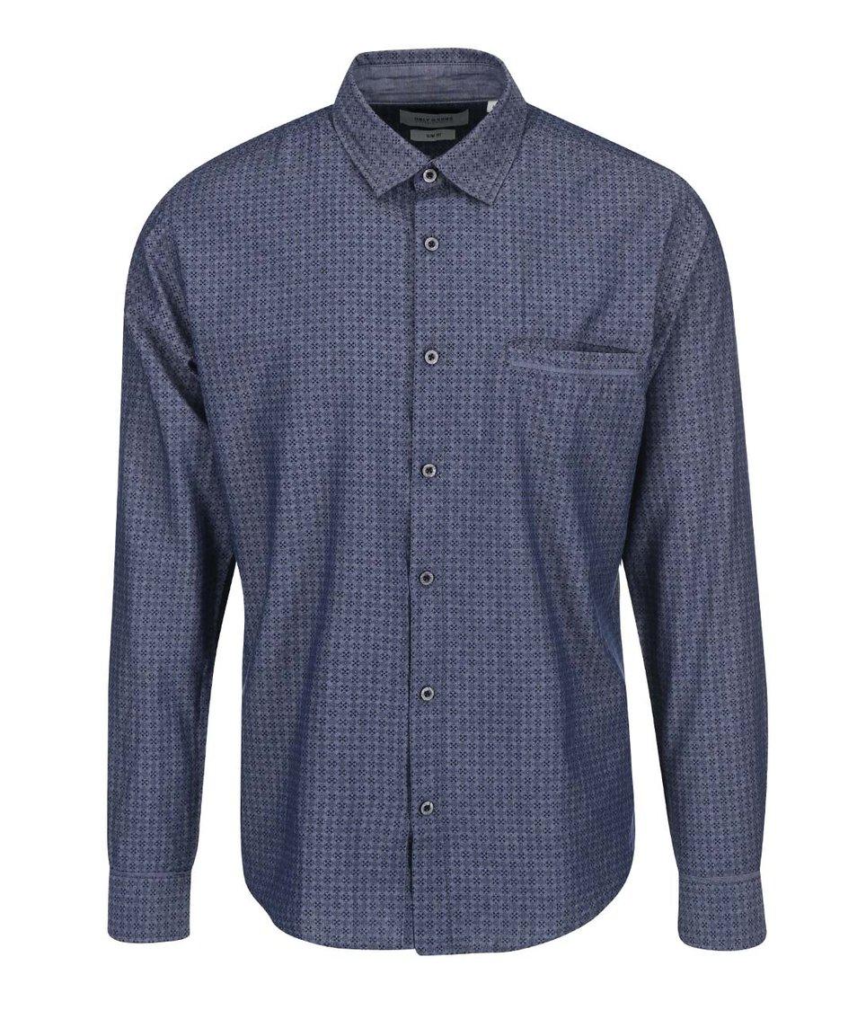 Šedomodrá vzorovaná košile ONLY & SONS Ali