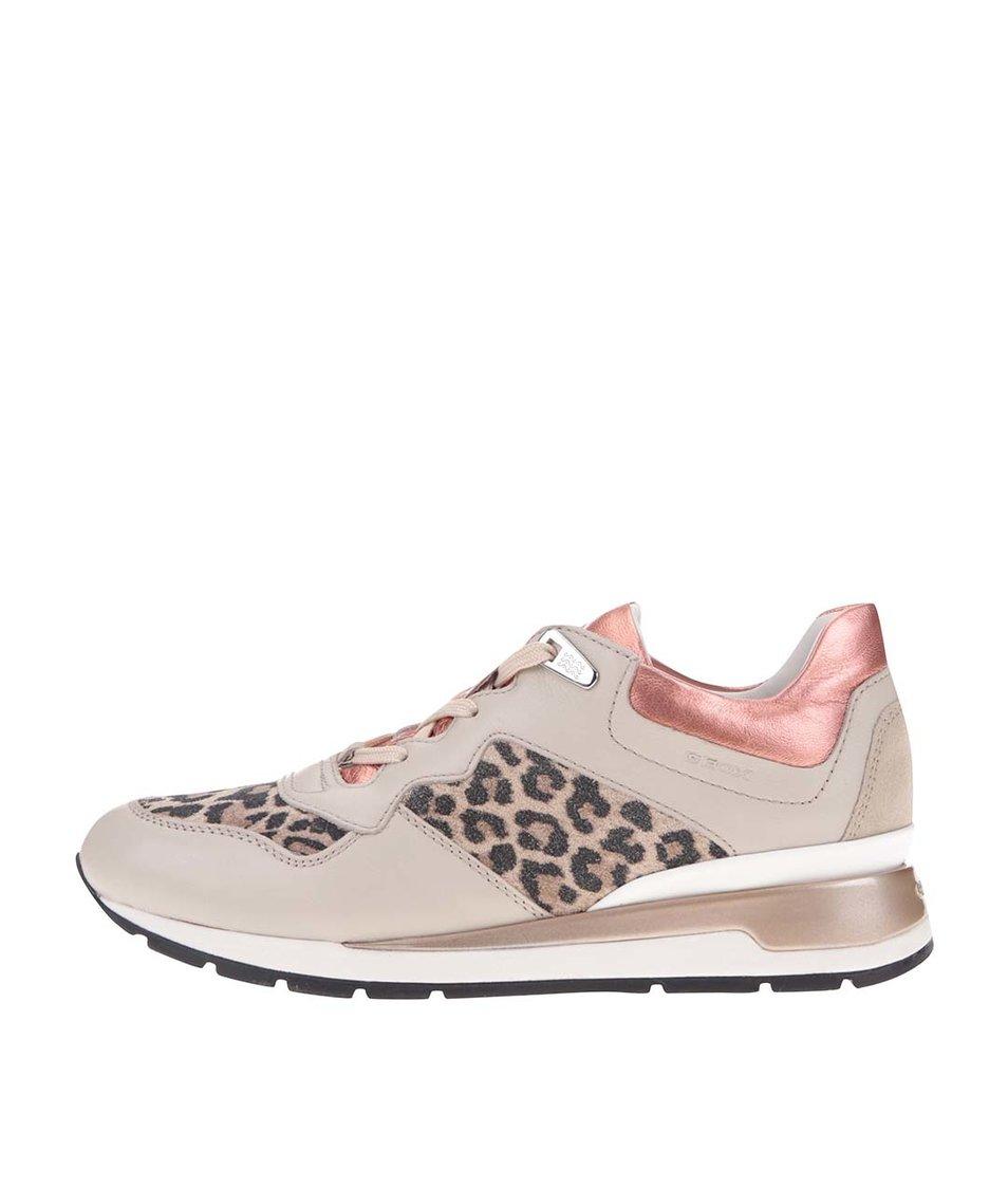 Béžové dámské kožené tenisky s gepardím vzorem Geox Shahira