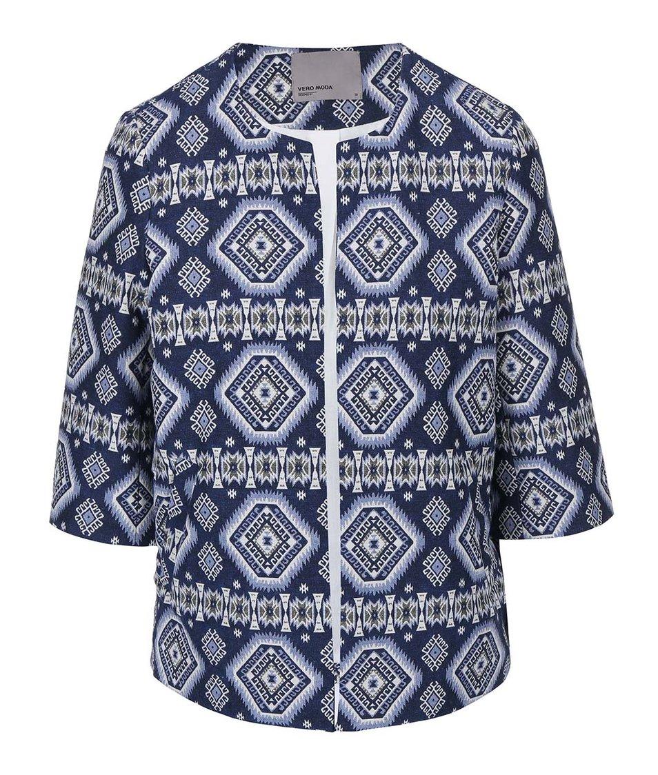 Modrý vzorovaný blejzr Vero Moda Kikijoh