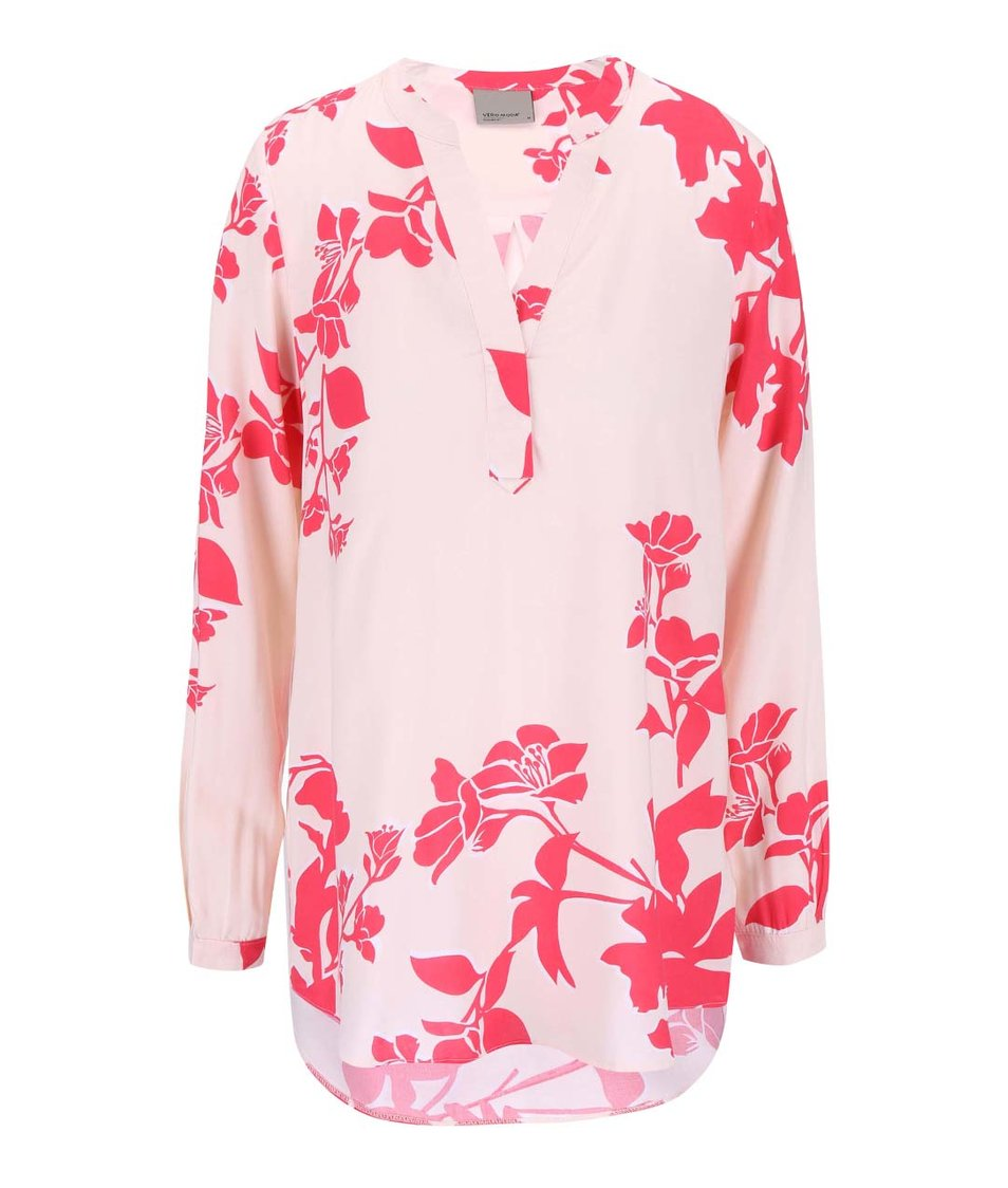 Růžová květovaná halenka Vero Moda Paja