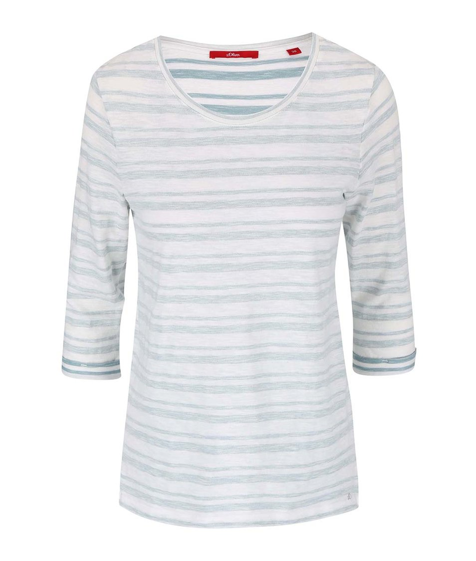 Zeleno-bílé pruhované tričko s.Oliver