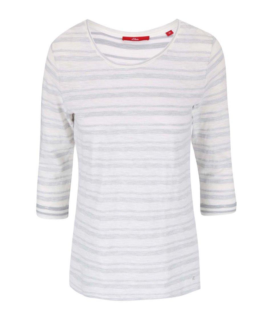 Šedo-bílé dámské pruhované tričko s.Oliver