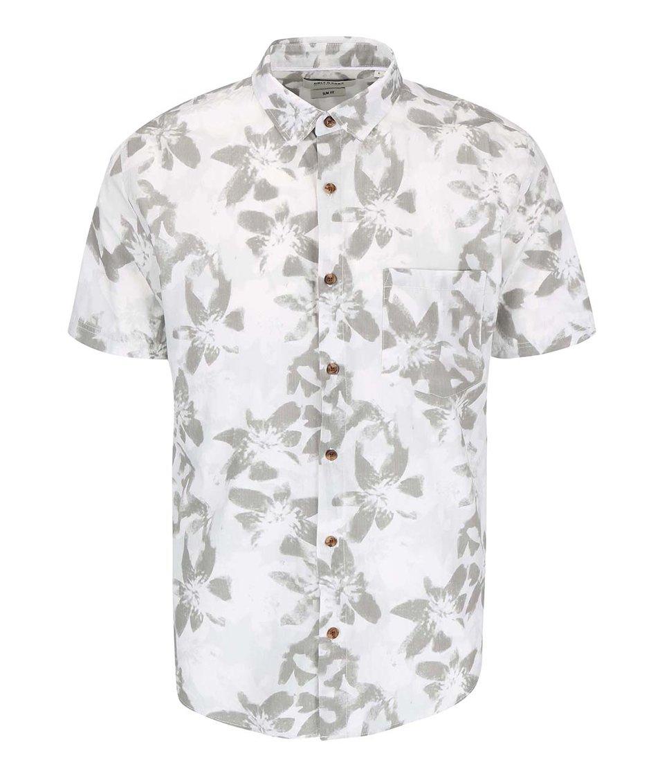 Krémová květovaná košile s krátkým rukávem ONLY & SONS Abbe