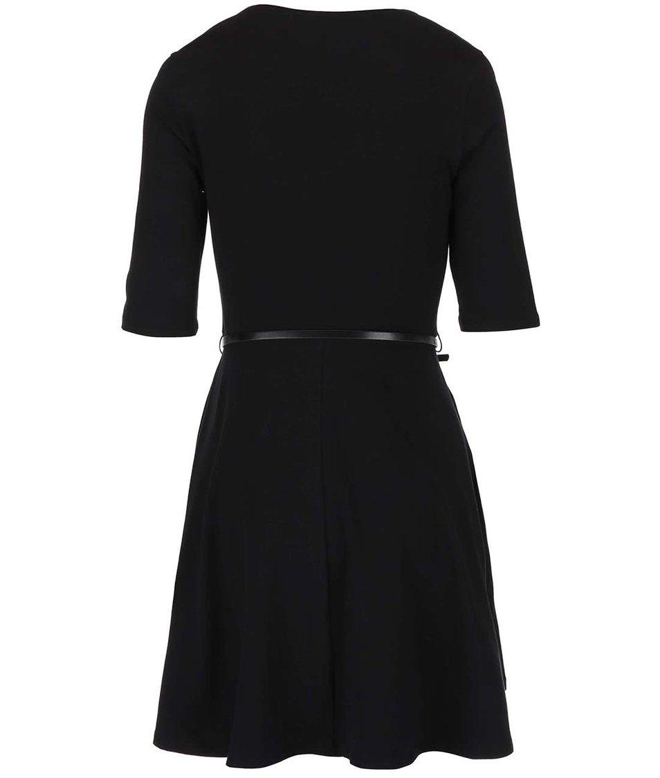 Černé šaty s 3/4 rukávem a s páskem Dorothy Perkins