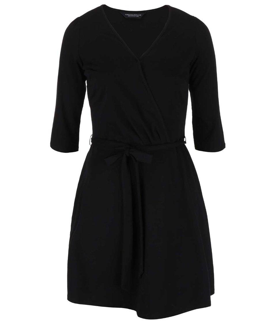 Černé šaty s 3/4 rukávy a se zavazováním Dorothy Perkins Curve