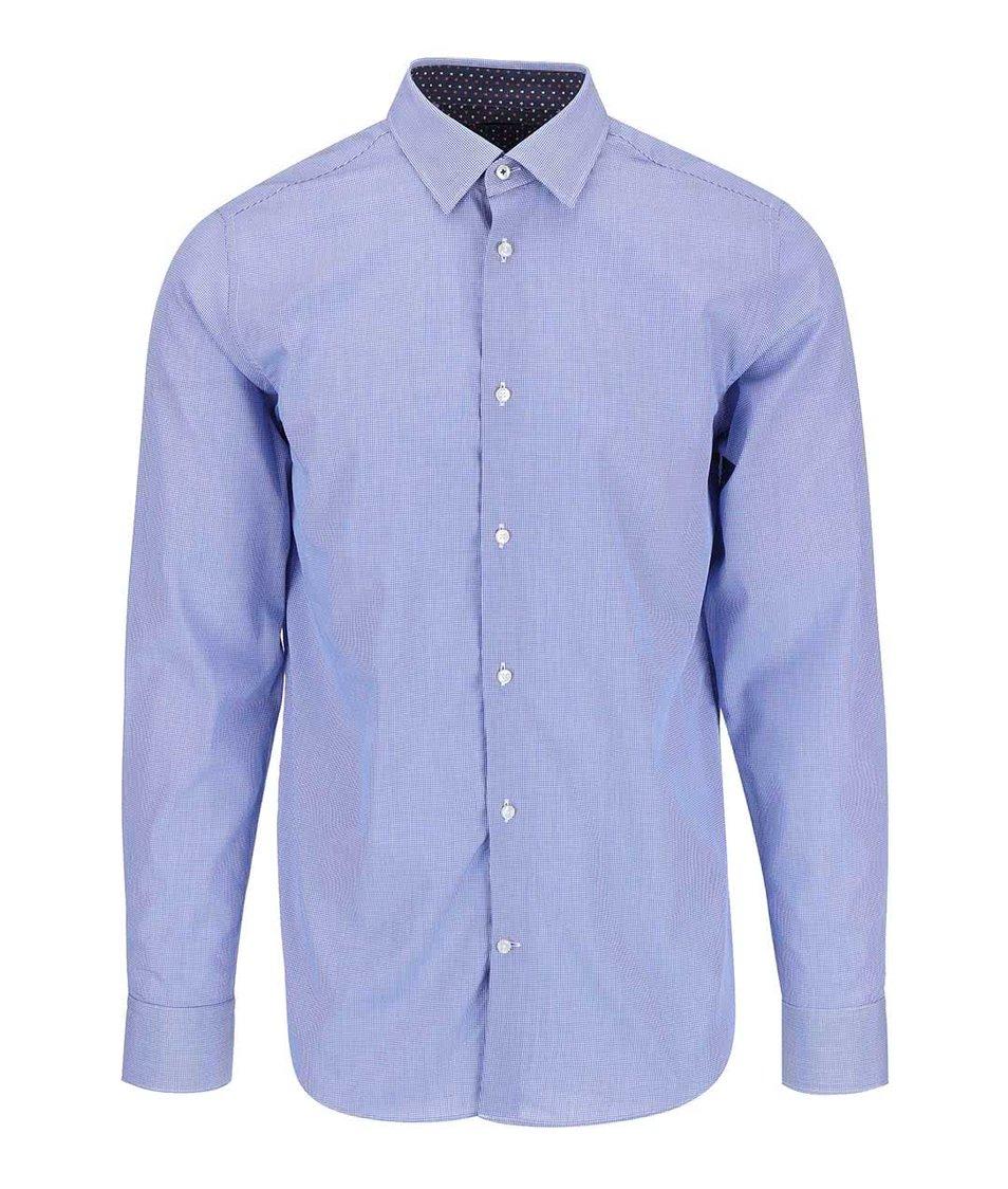 Modrá košile s drobným kostkovaným vzorem Selected Homme Steven