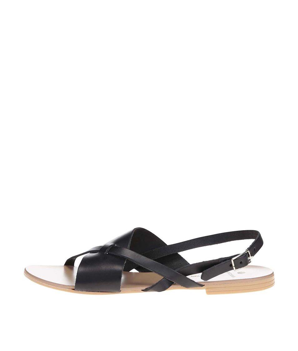 Černé kožené páskové sandálky Pieces Joyce