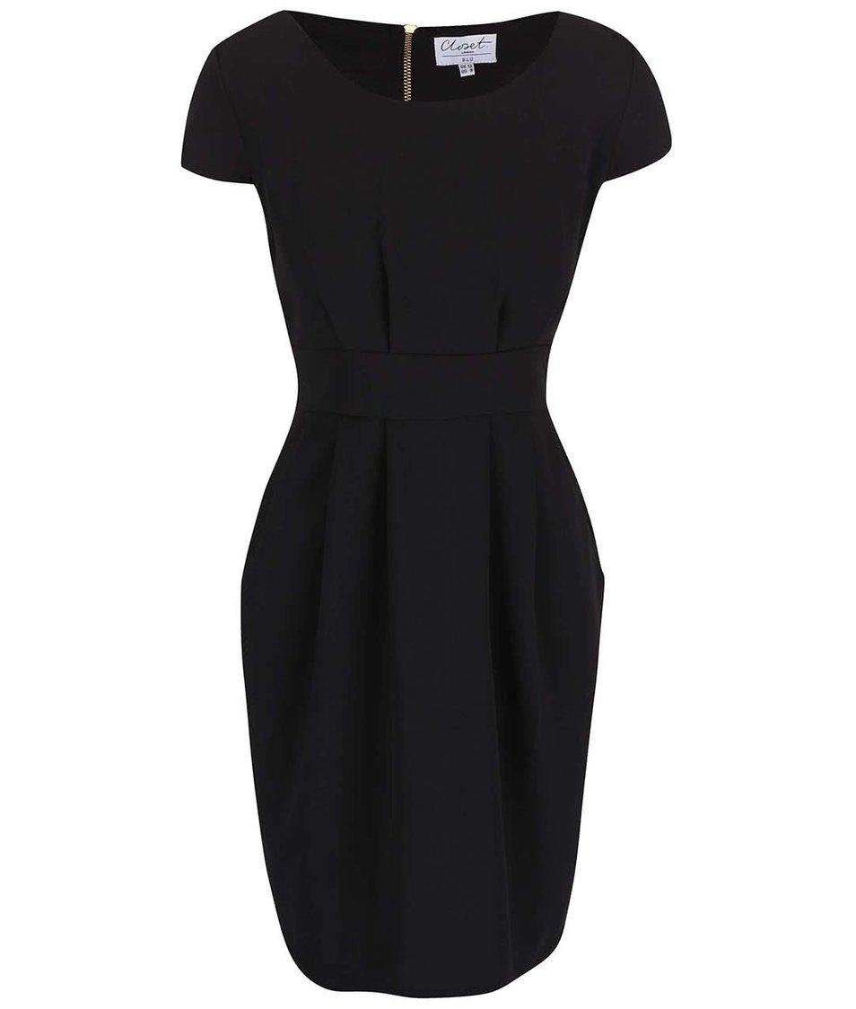 Černé šaty s krátkým rukávem Closet