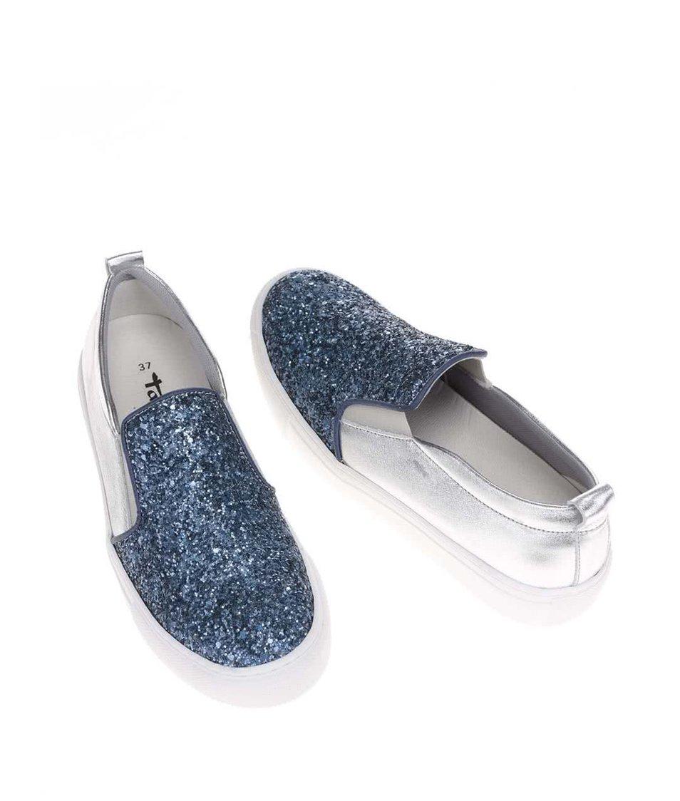 Stříbrno-modré slip on tenisky s třpytivým nártem Tamaris