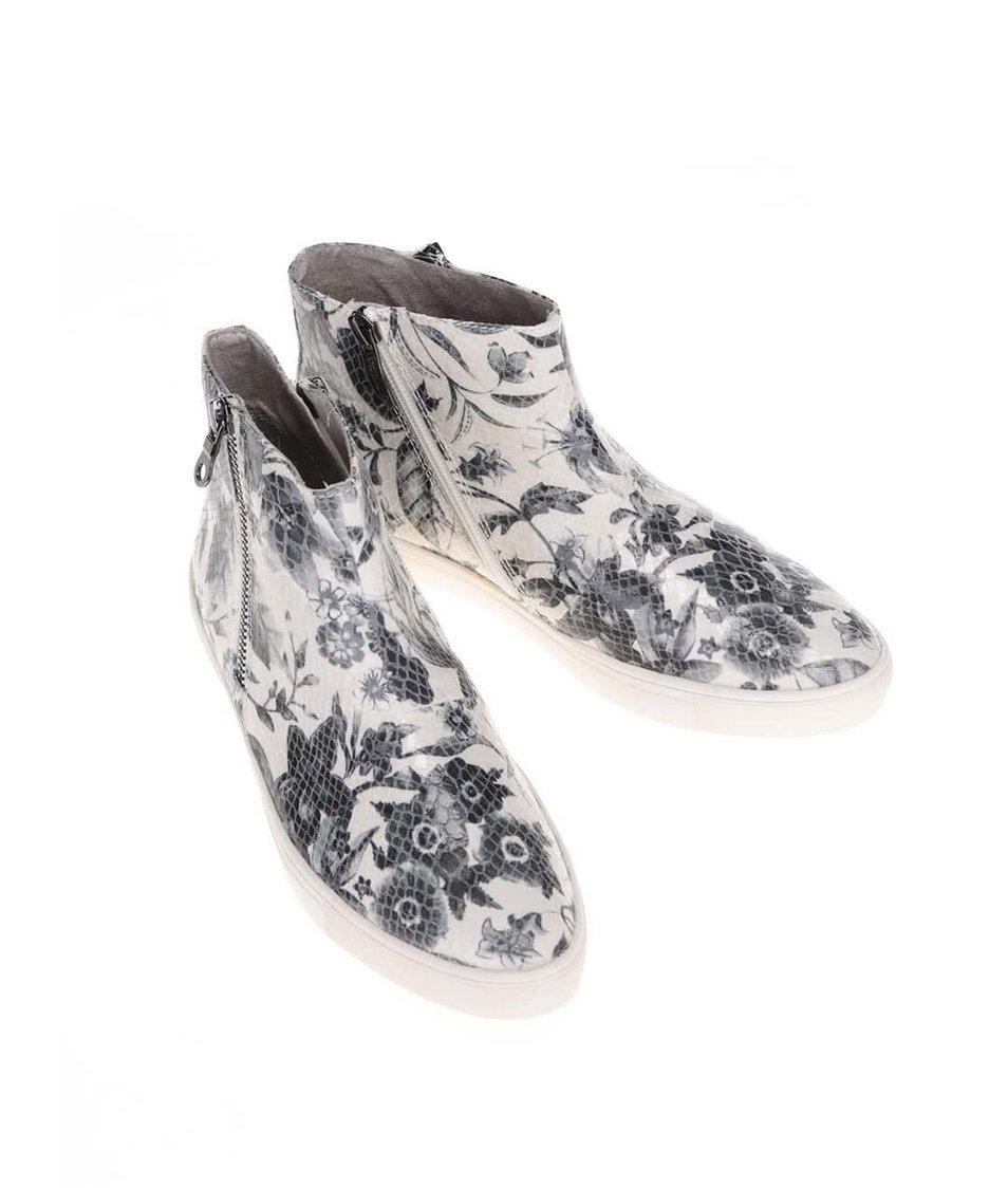 Šedo-bílé květované kotníkové boty Tamaris