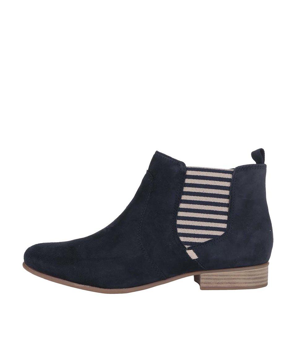 Modré kožené kotníkové boty s pruhy Tamaris