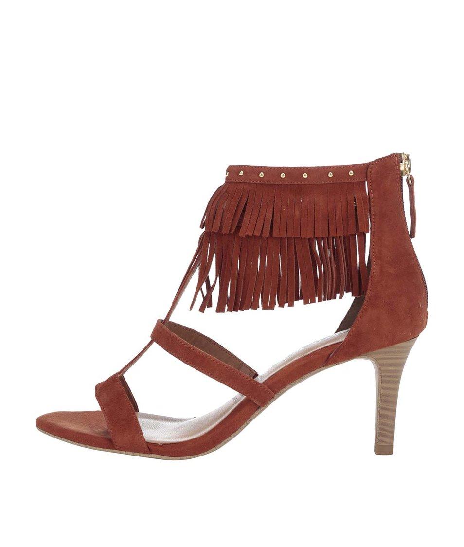 Cihlové semišové sandálky na podpatku s třásněmi Tamaris