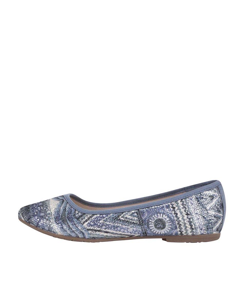 Modré lesklé balerínky s etno vzory Tamaris