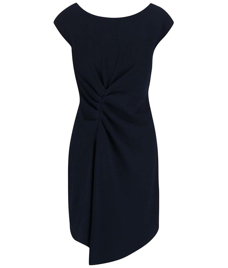 Tmavě modré šaty zřasené v pase Closet