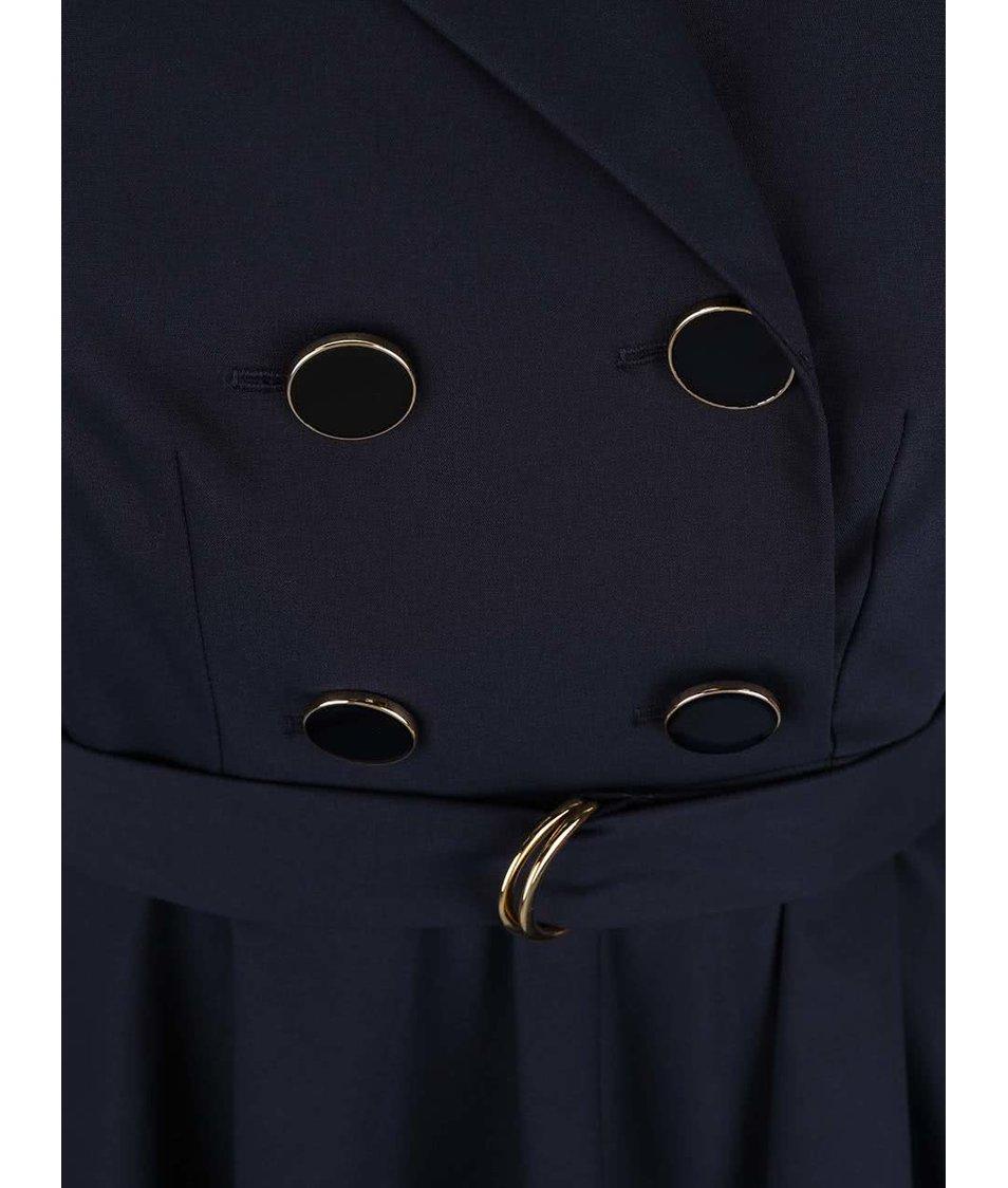 Tmavě modré šaty s dvouřadým zapínáním Closet