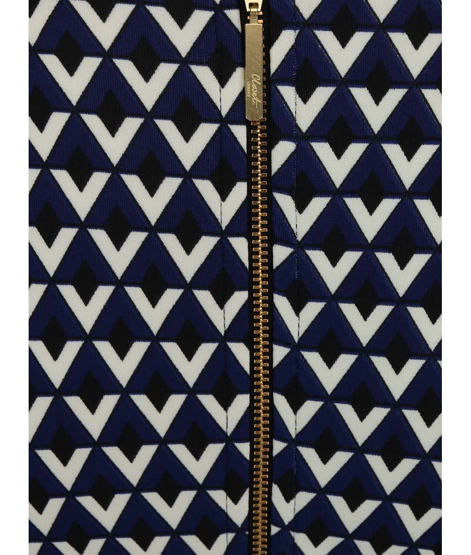 Tmavě modré vzorované šaty s dlouhým rukávem Closet