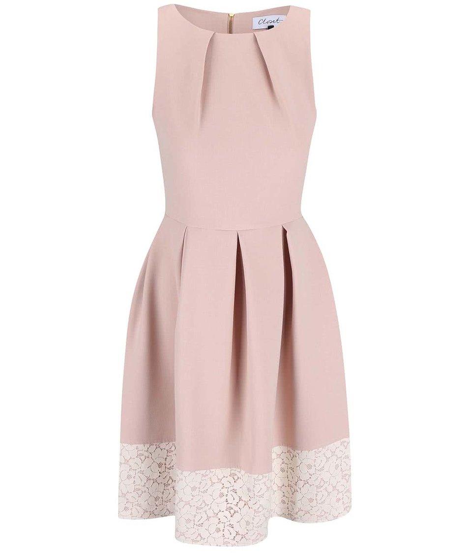 Pudrově růžové šaty s krajkovým lemem Closet