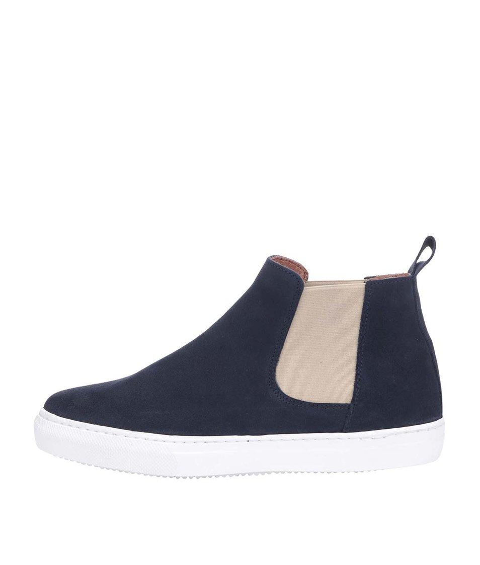 Tmavě modré kožené kotníkové boty OJJU