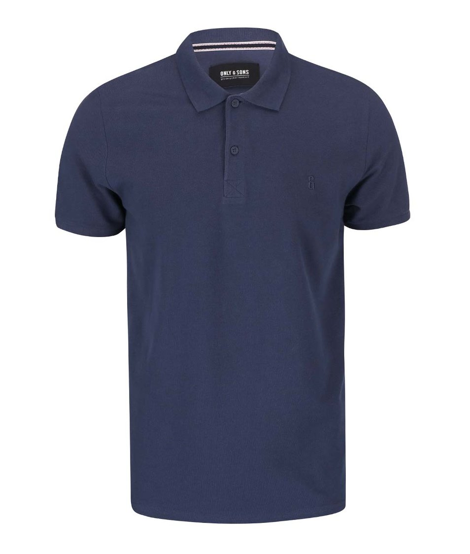 Modré polo triko ONLY & SONS Pique