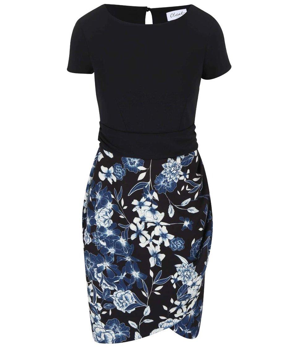 Černé šaty s květovanou sukní Closet