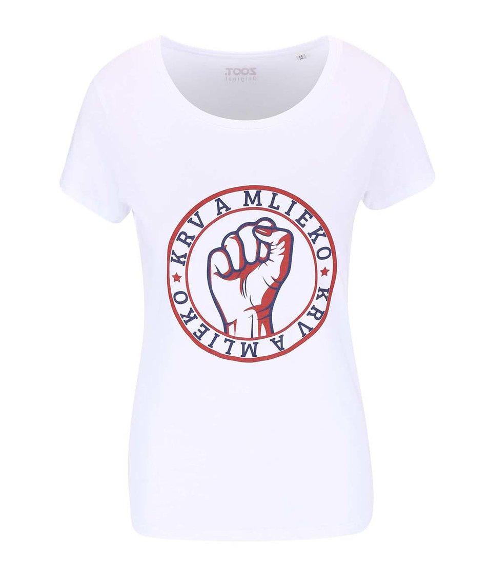 Bílé dámské tričko ZOOT Originál Krv a mlieko